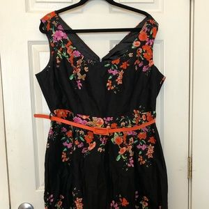 City Chic Floral Print cocktail Dress Belted